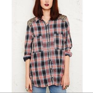 Free People Sequin Flannel Shirt